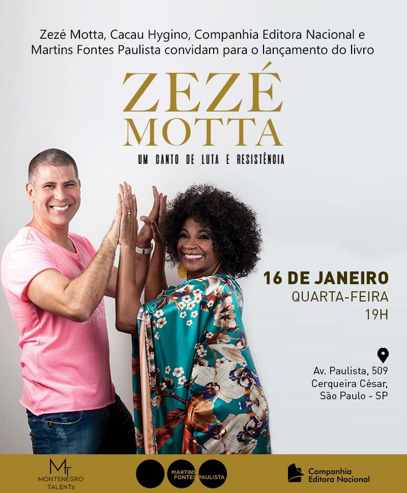 Lançamento da Biografia da atriz Zezé Motta em SP – QUA 16 Martins Fontes Paulista