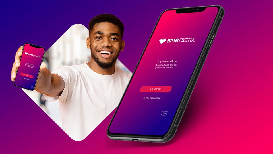 Ame Digital oferece crédito pessoal entre R$ 100 e R$ 50 mil, inclusive para quem não tem conta bancária